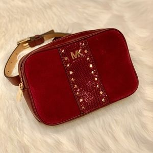Michael Kors Studded Fanny Pack Maroon/Gold